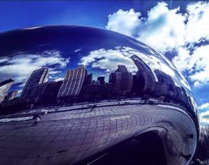 Να φυλακίσεις το γαλάζιο. Σε μία εικόνα, σε μία θύμηση. Chicago, The bean. Φεβρουάριος, 2016. Φωτογραφία από Αναστασία Νικολούδη